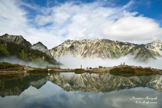 八方池に映る山々