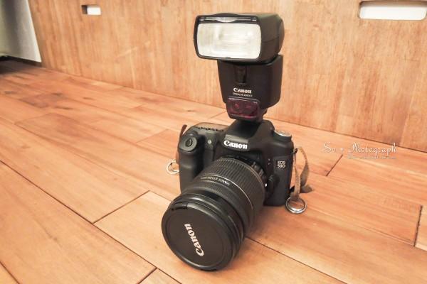 スピードライト430EX IIを50Dに取り付けた写真
